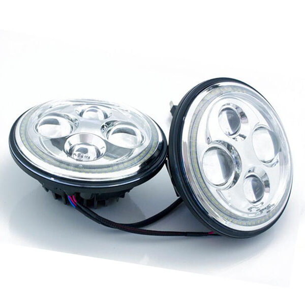 7 inch led koplampunit chrome face