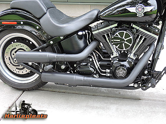 kess tech esm2 shotgun low softail harliepleats. Black Bedroom Furniture Sets. Home Design Ideas